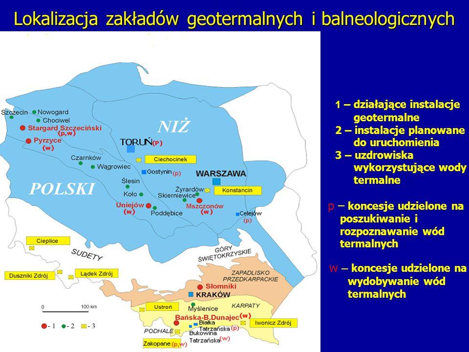 Lokalizacja zakładów geotermalnych i balneologicznych