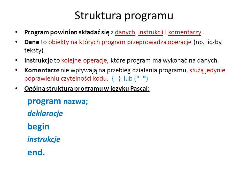 Struktura programu program nazwa; begin end. deklaracje instrukcje
