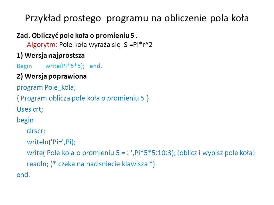 Przykład prostego programu na obliczenie pola koła