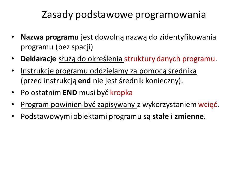 Zasady podstawowe programowania