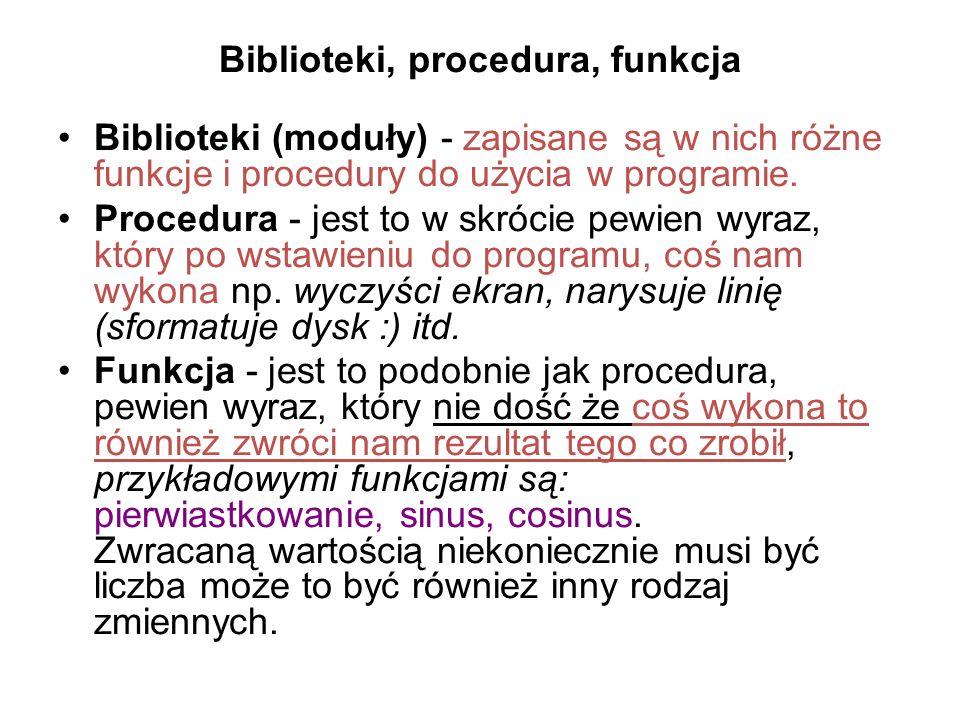 Biblioteki, procedura, funkcja