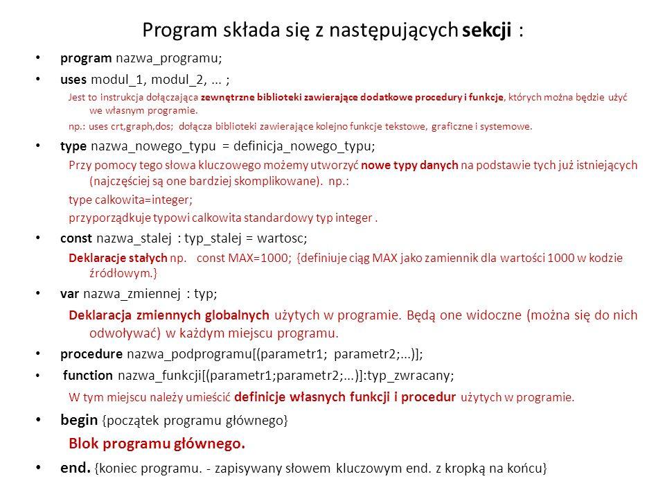 Program składa się z następujących sekcji :
