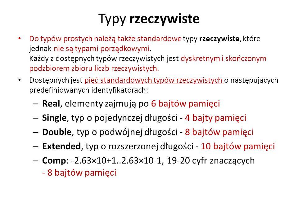 Typy rzeczywiste Real, elementy zajmują po 6 bajtów pamięci