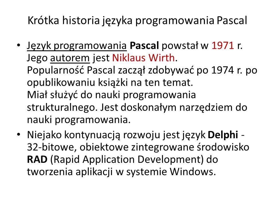 Krótka historia języka programowania Pascal