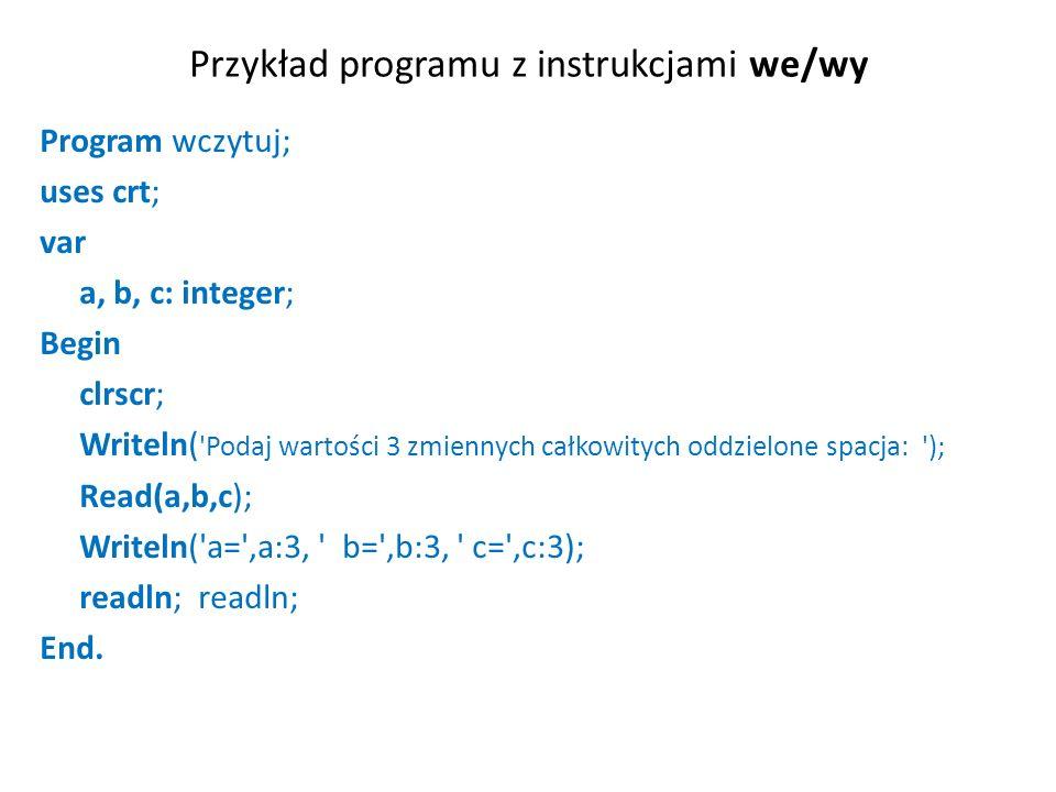 Przykład programu z instrukcjami we/wy