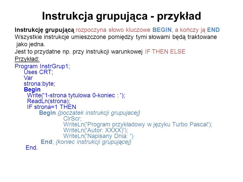 Instrukcja grupująca - przykład