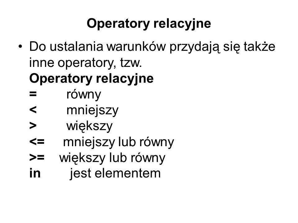 Operatory relacyjne