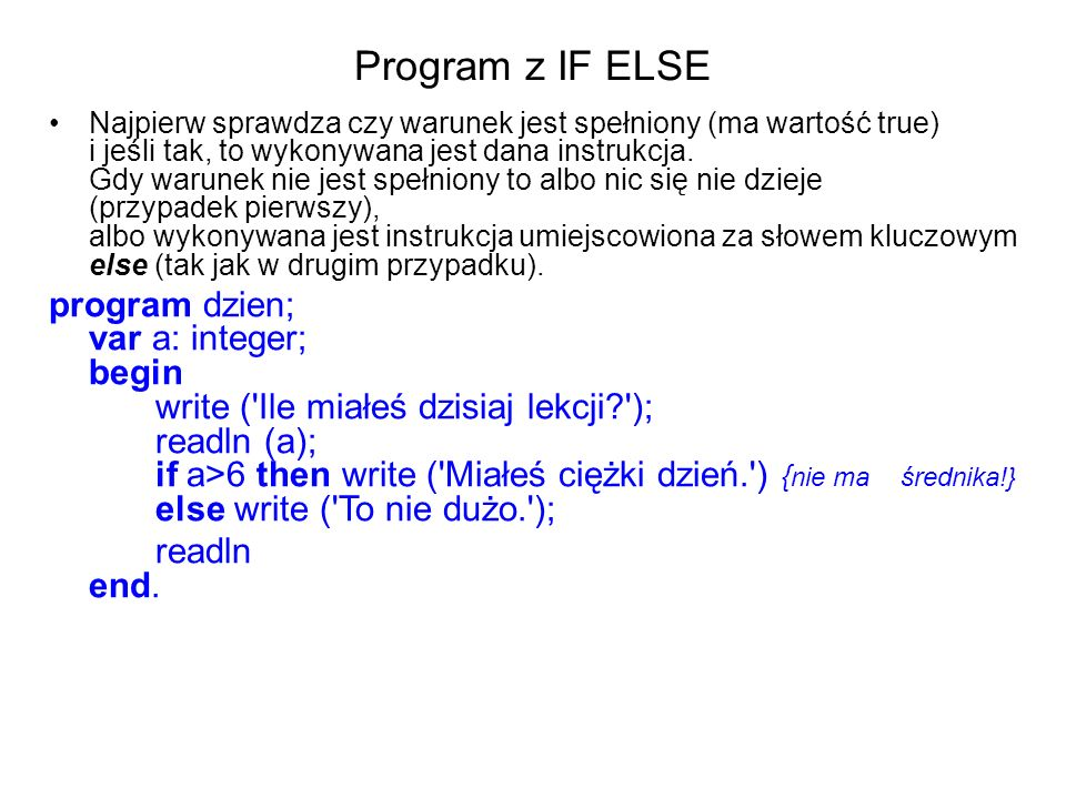 Program z IF ELSE