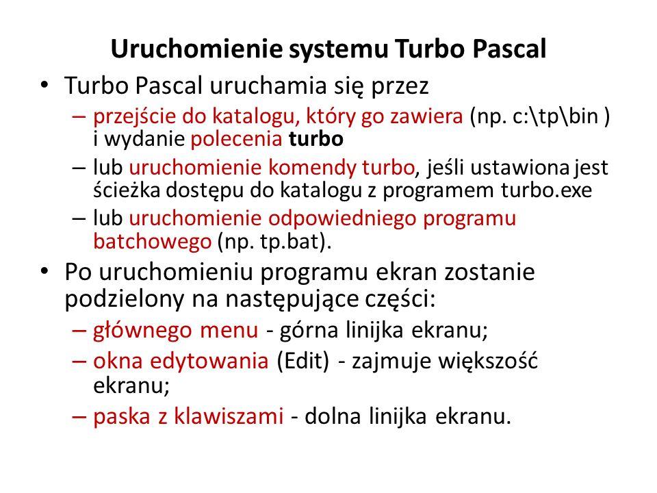 Uruchomienie systemu Turbo Pascal
