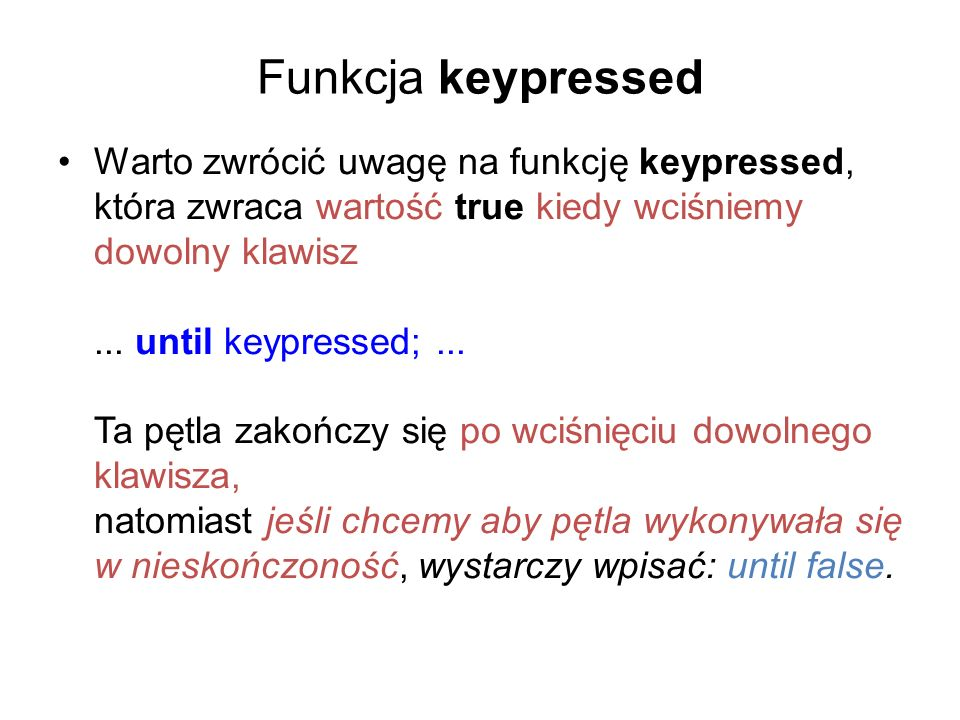 Funkcja keypressed