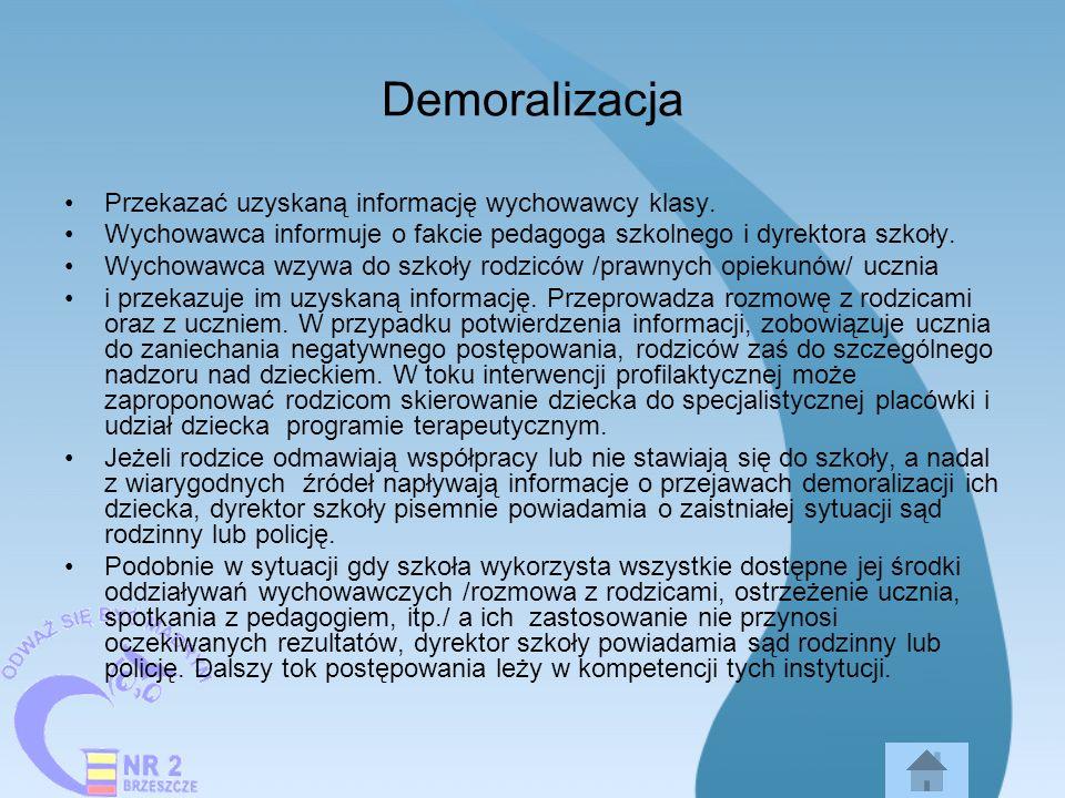 Demoralizacja Przekazać uzyskaną informację wychowawcy klasy.
