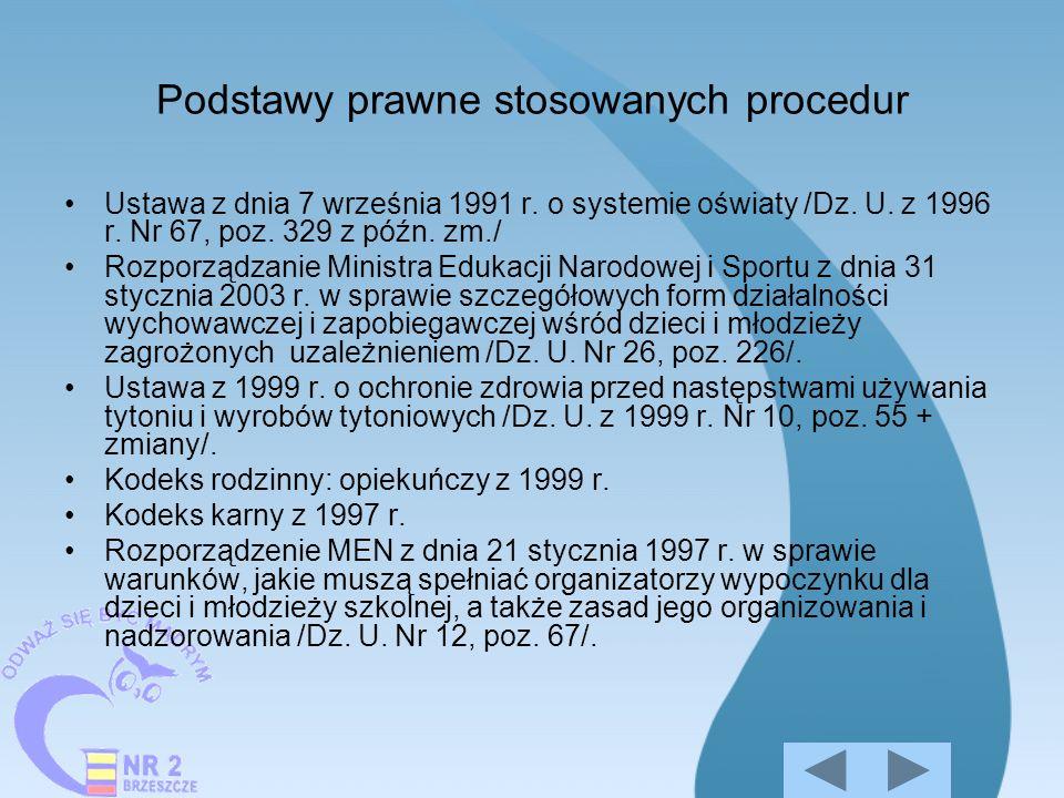 Podstawy prawne stosowanych procedur