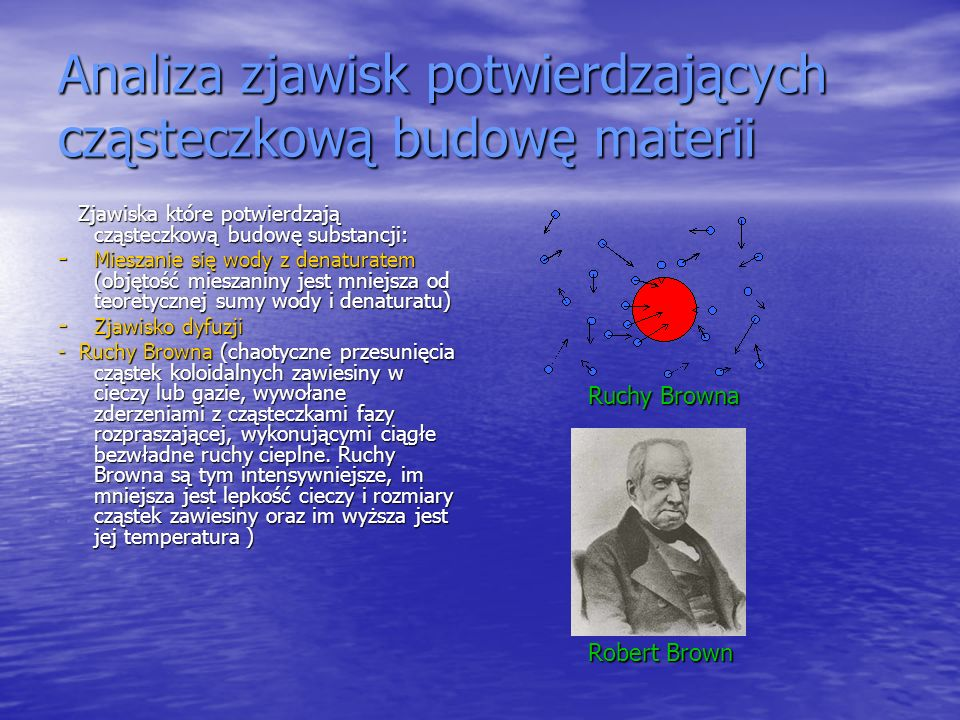 Analiza zjawisk potwierdzających cząsteczkową budowę materii