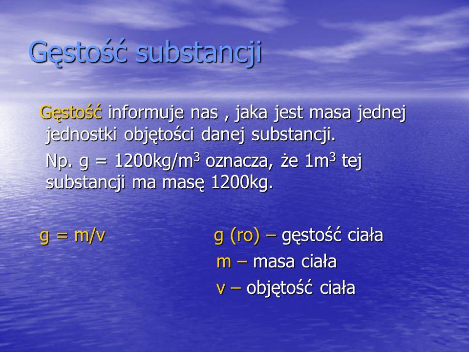 Gęstość substancji Gęstość informuje nas , jaka jest masa jednej jednostki objętości danej substancji.