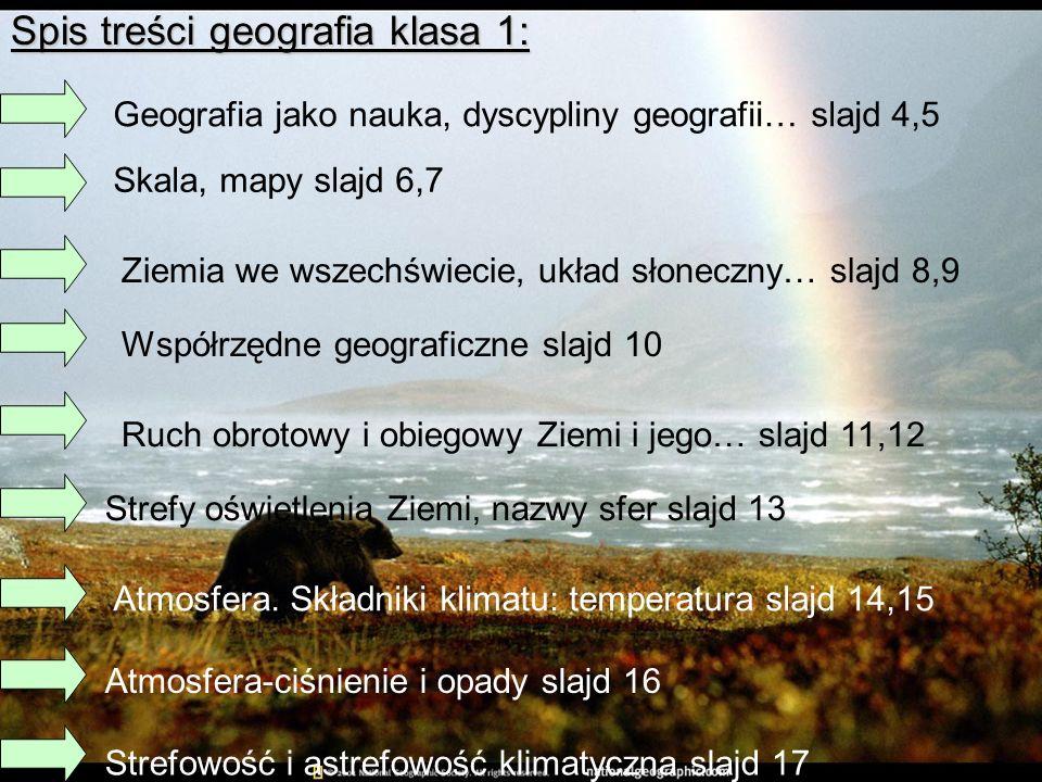 Spis treści geografia klasa 1: