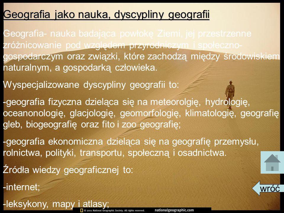 Geografia jako nauka, dyscypliny geografii
