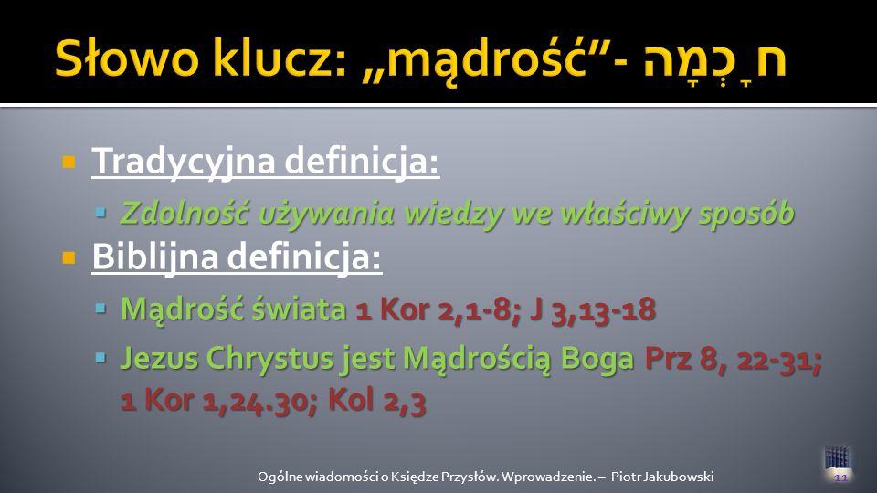 """Słowo klucz: """"mądrość - חָכְמָה"""