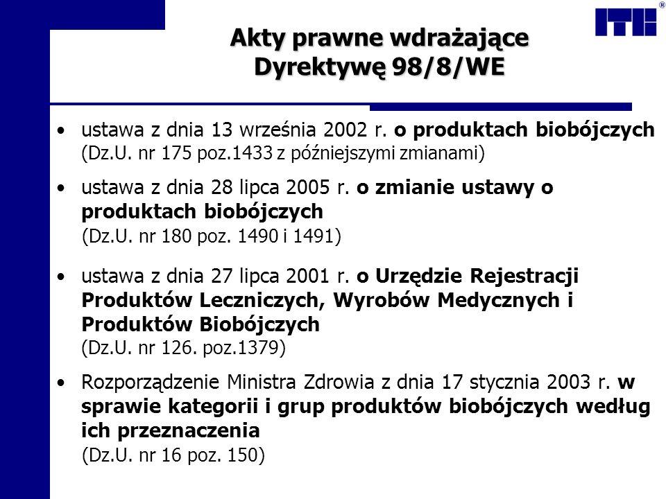 Akty prawne wdrażające Dyrektywę 98/8/WE