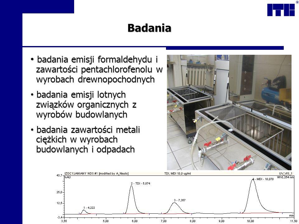 Badania badania emisji formaldehydu i zawartości pentachlorofenolu w wyrobach drewnopochodnych.