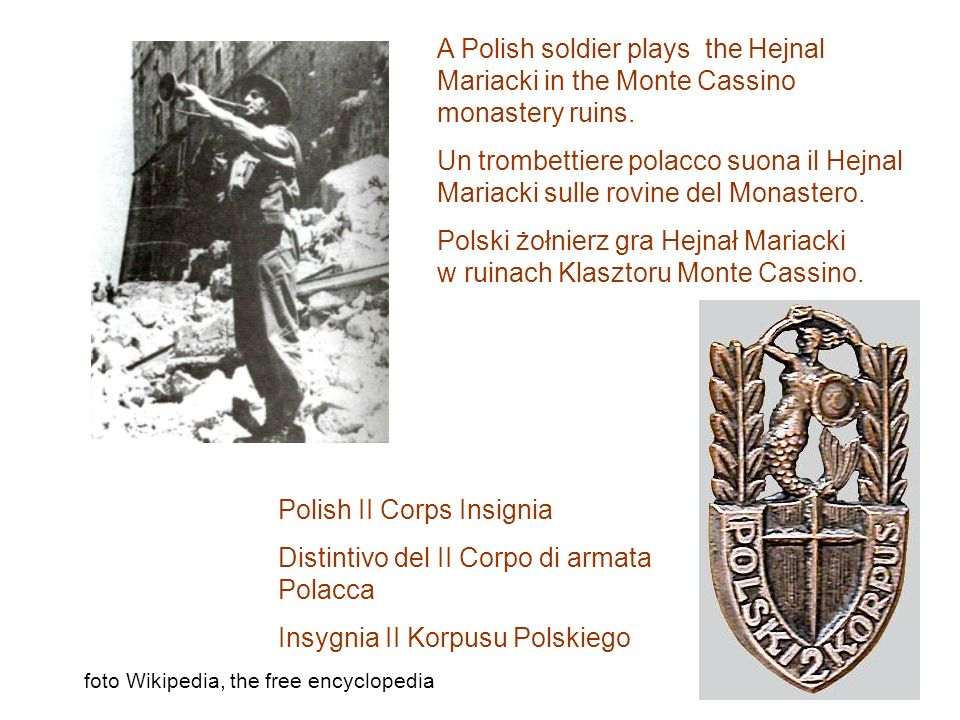 Polski żołnierz gra Hejnał Mariacki w ruinach Klasztoru Monte Cassino.
