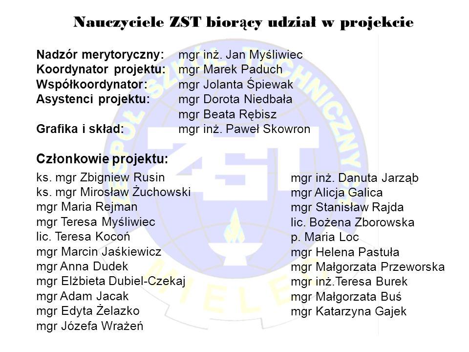 Nauczyciele ZST biorący udział w projekcie