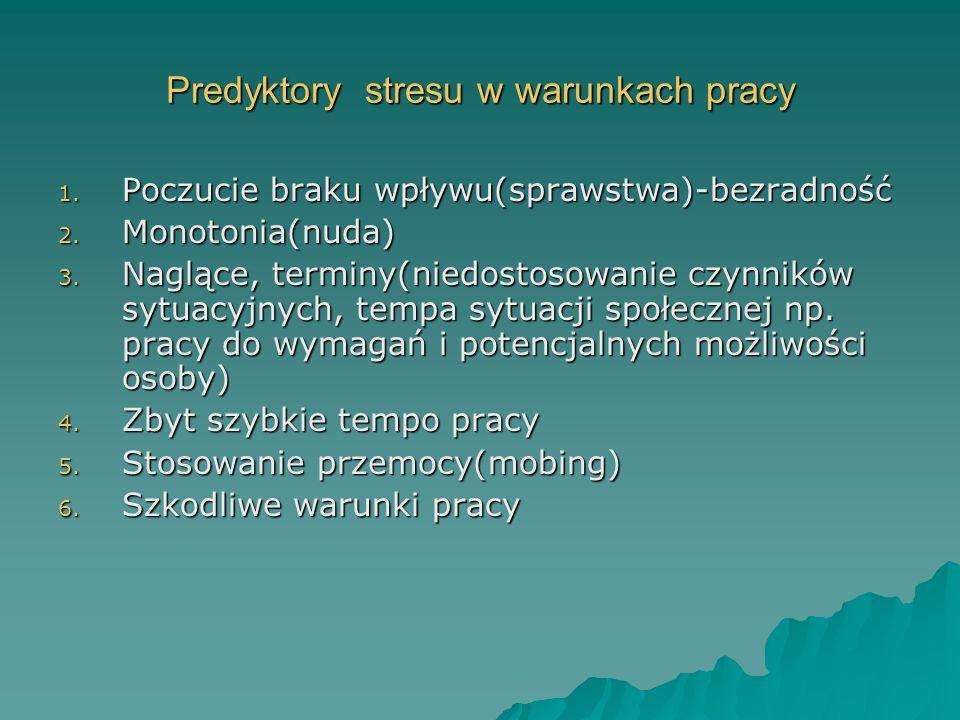 Predyktory stresu w warunkach pracy