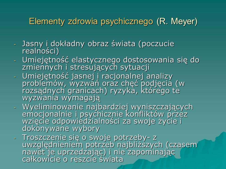 Elementy zdrowia psychicznego (R. Meyer)