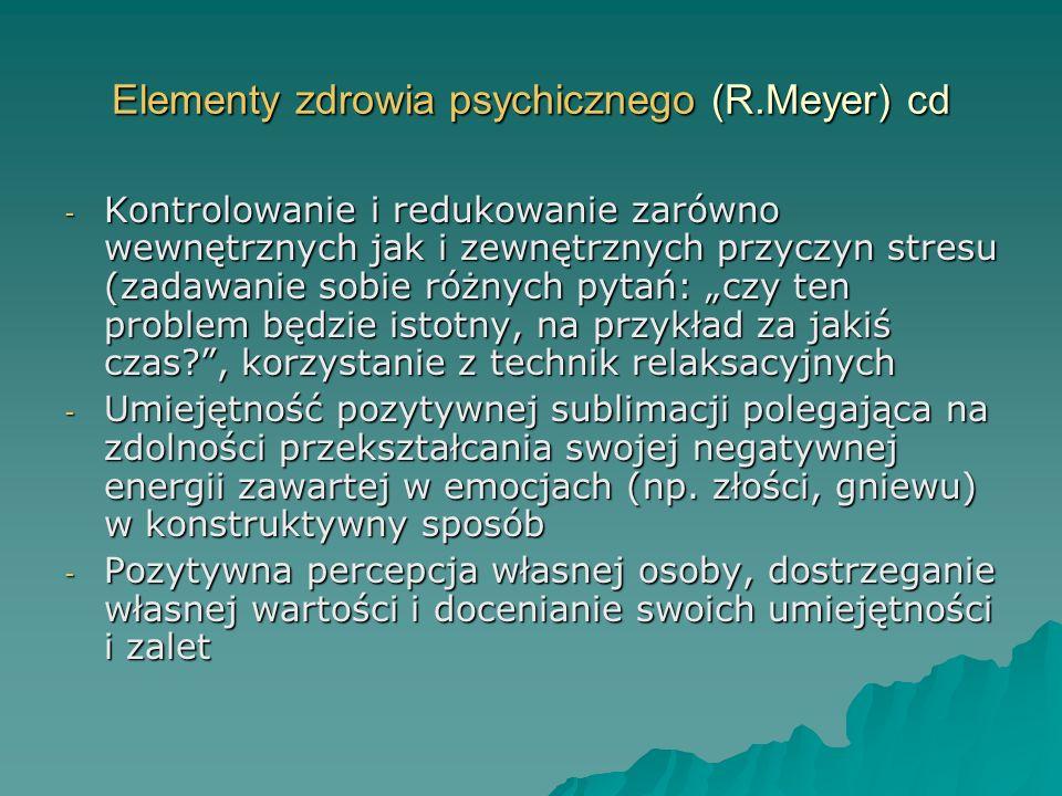 Elementy zdrowia psychicznego (R.Meyer) cd
