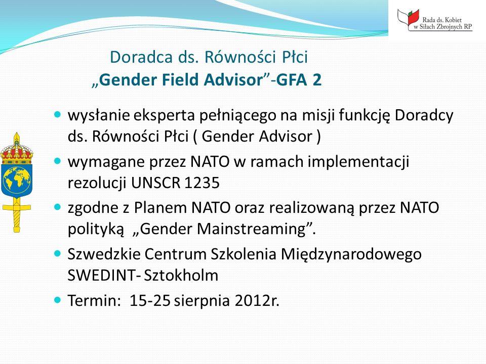 """Doradca ds. Równości Płci """"Gender Field Advisor -GFA 2"""