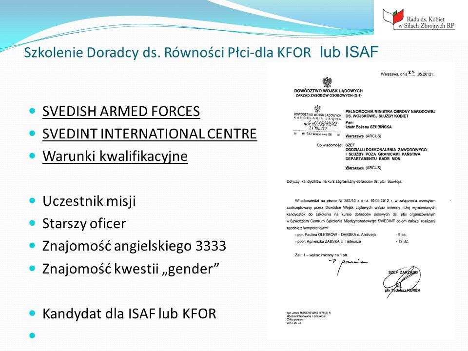 Szkolenie Doradcy ds. Równości Płci-dla KFOR lub ISAF