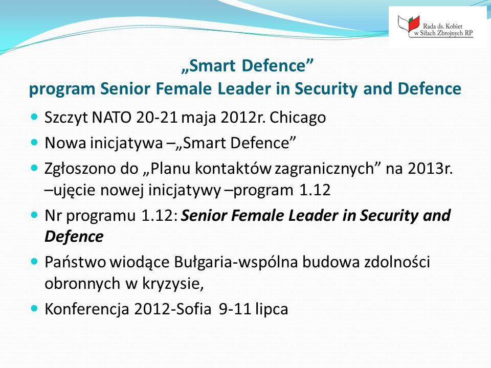 """Smart Defence program Senior Female Leader in Security and Defence"