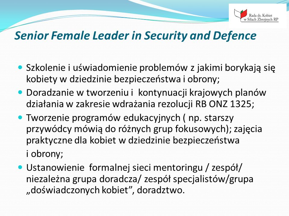 Senior Female Leader in Security and Defence