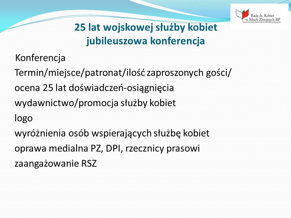 25 lat wojskowej służby kobiet jubileuszowa konferencja