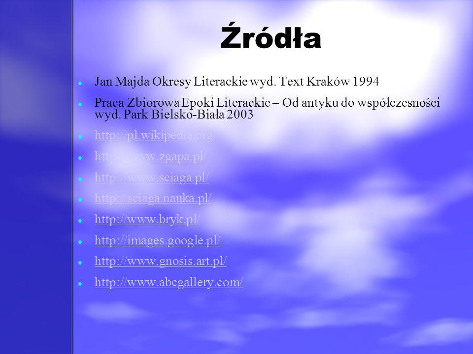 Źródła Jan Majda Okresy Literackie wyd. Text Kraków 1994