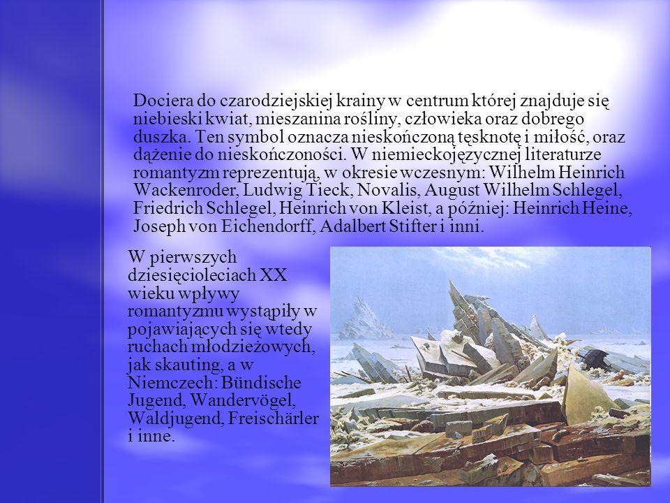 Dociera do czarodziejskiej krainy w centrum której znajduje się niebieski kwiat, mieszanina rośliny, człowieka oraz dobrego duszka. Ten symbol oznacza nieskończoną tęsknotę i miłość, oraz dążenie do nieskończoności. W niemieckojęzycznej literaturze romantyzm reprezentują, w okresie wczesnym: Wilhelm Heinrich Wackenroder, Ludwig Tieck, Novalis, August Wilhelm Schlegel, Friedrich Schlegel, Heinrich von Kleist, a później: Heinrich Heine, Joseph von Eichendorff, Adalbert Stifter i inni.