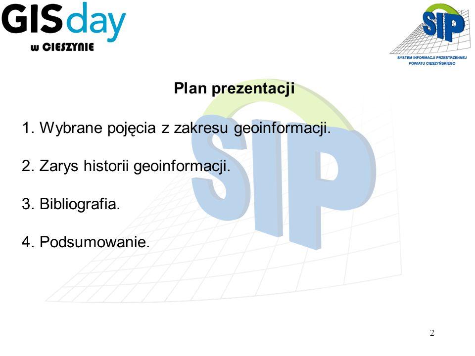 Plan prezentacji Wybrane pojęcia z zakresu geoinformacji. Zarys historii geoinformacji. Bibliografia.