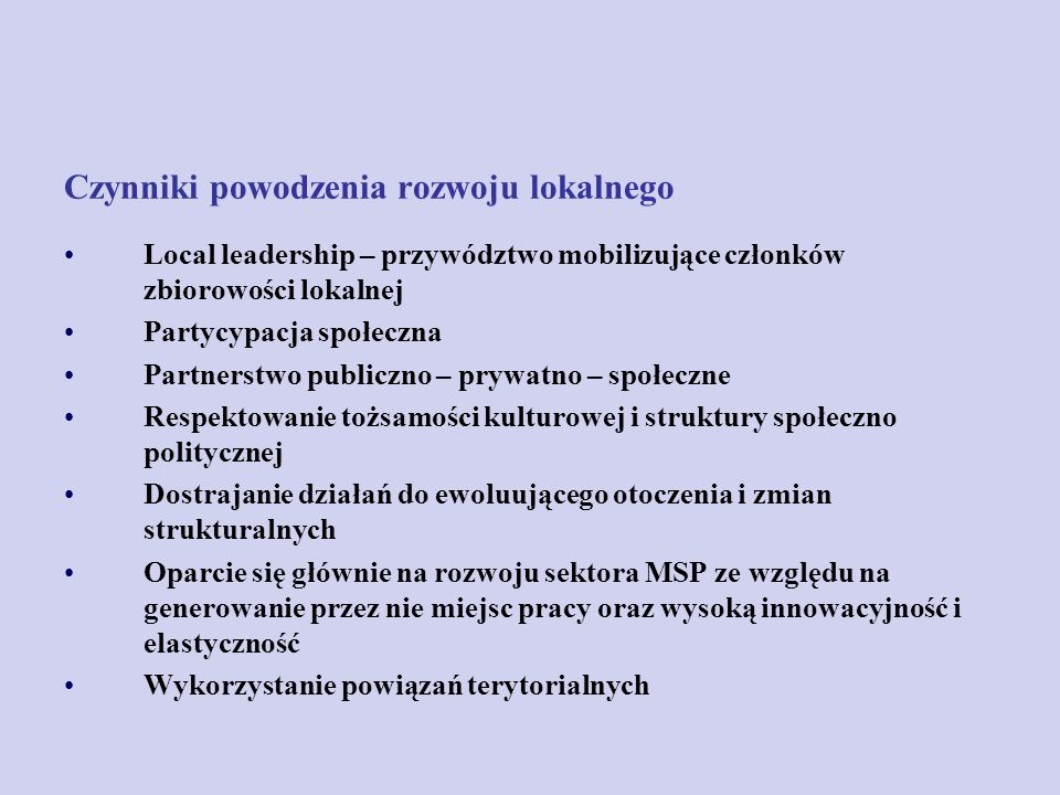Czynniki powodzenia rozwoju lokalnego