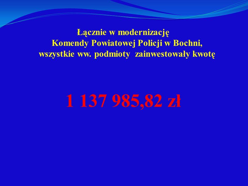 Łącznie w modernizację Komendy Powiatowej Policji w Bochni, wszystkie ww. podmioty zainwestowały kwotę