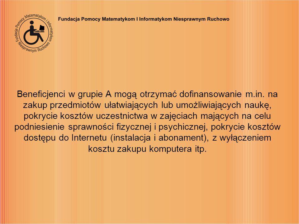 Beneficjenci w grupie A mogą otrzymać dofinansowanie m. in