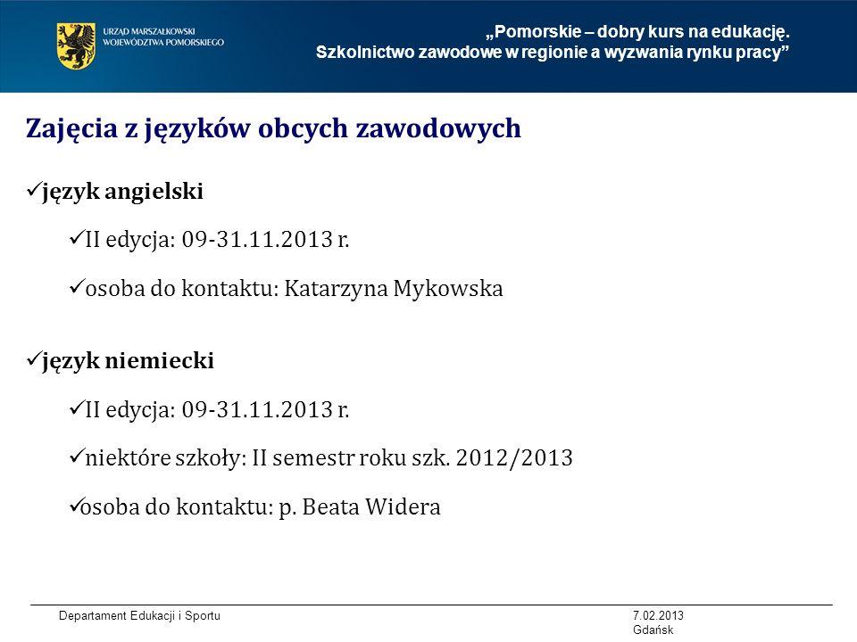 Zajęcia z języków obcych zawodowych
