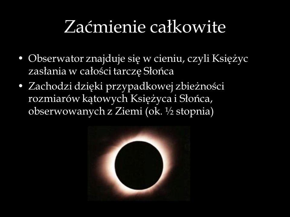Zaćmienie całkowiteObserwator znajduje się w cieniu, czyli Księżyc zasłania w całości tarczę Słońca.