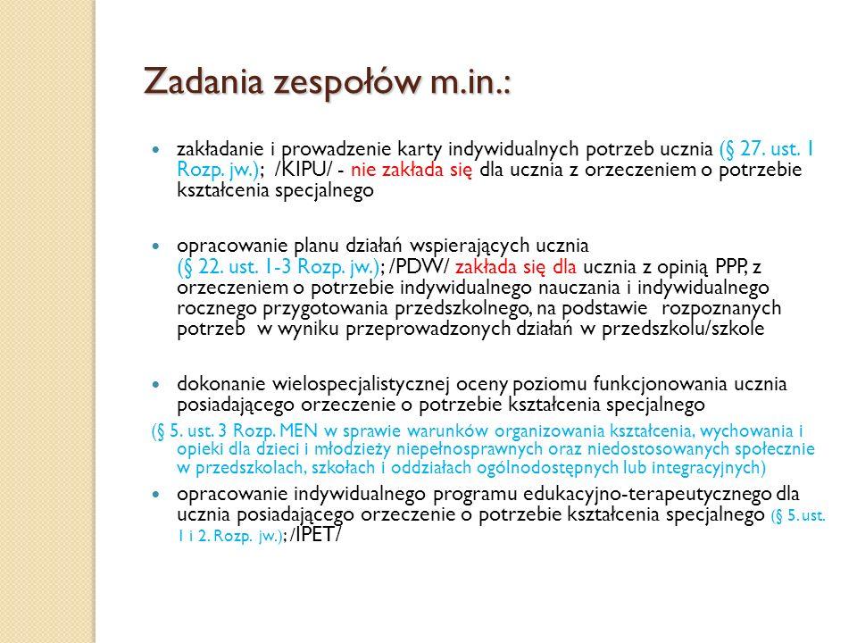 Zadania zespołów m.in.: