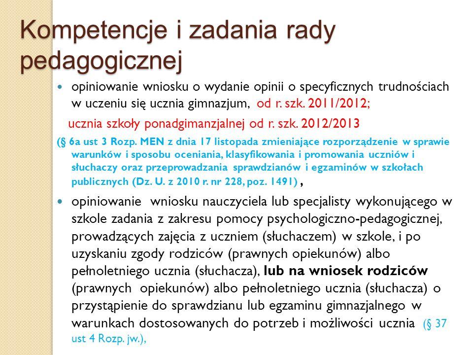 Kompetencje i zadania rady pedagogicznej