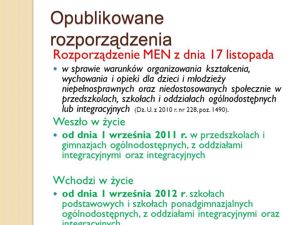 Opublikowane rozporządzenia