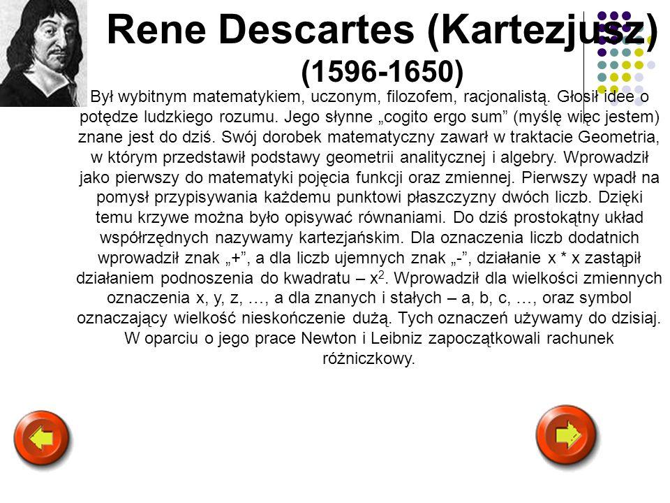 Rene Descartes (Kartezjusz) (1596-1650)