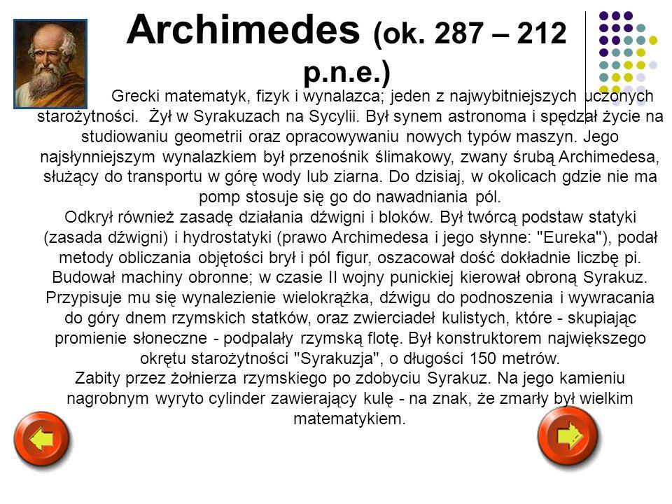Archimedes (ok. 287 – 212 p.n.e.)