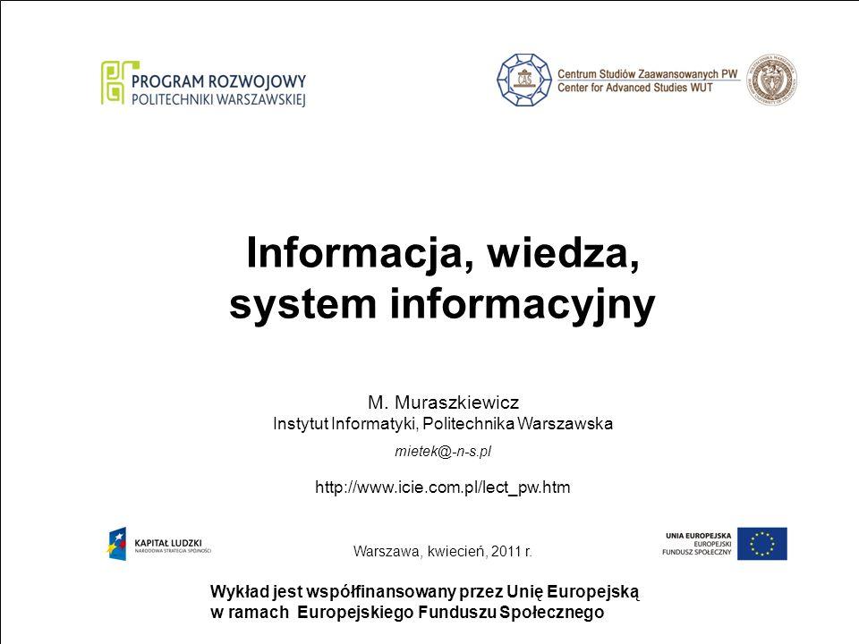 Informacja, wiedza, system informacyjny