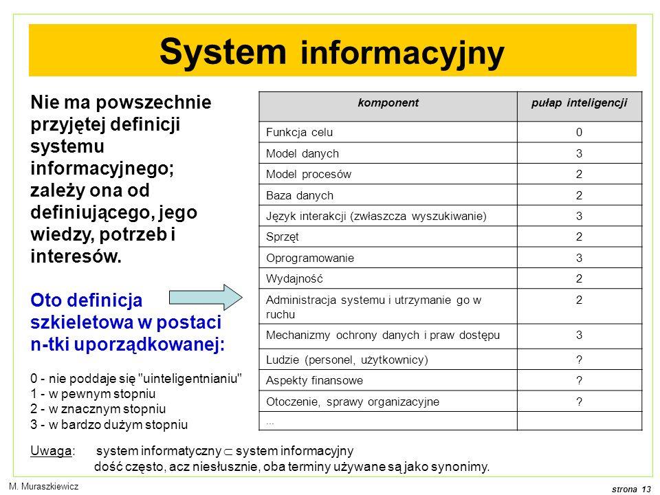 System informacyjny Nie ma powszechnie przyjętej definicji systemu informacyjnego; zależy ona od definiującego, jego wiedzy, potrzeb i interesów.