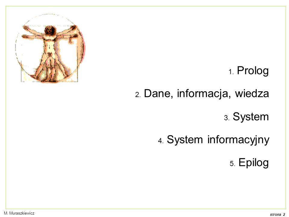 Dane, informacja, wiedza System System informacyjny Epilog