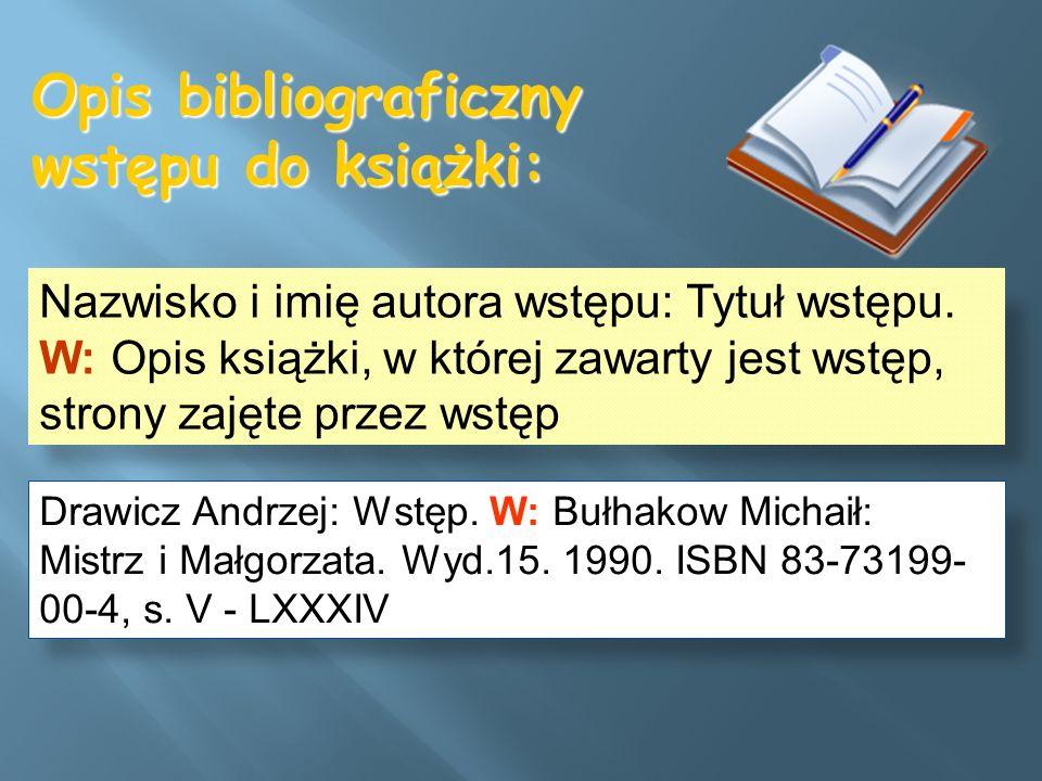 Opis bibliograficzny wstępu do książki: